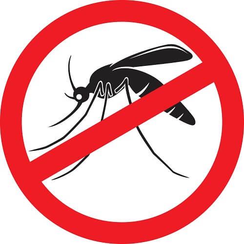 Logo anti-moustique : moustique noir sur fond blanc barré de rouge